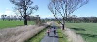 Cycling the Great Victorian Rail Trail near Olivers Road | Rail Trails Australia