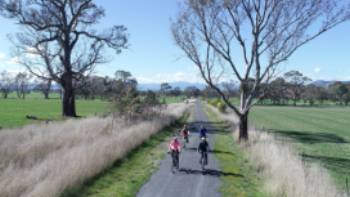 Cycling the Great Victorian Rail Trail near Olivers Road | Rail Trails Australia