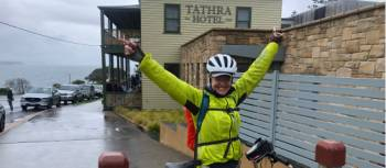 Cyclist at the Tathra Hotel | Kate Baker